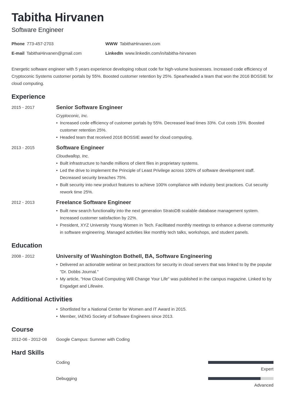 software engineer resume template minimo