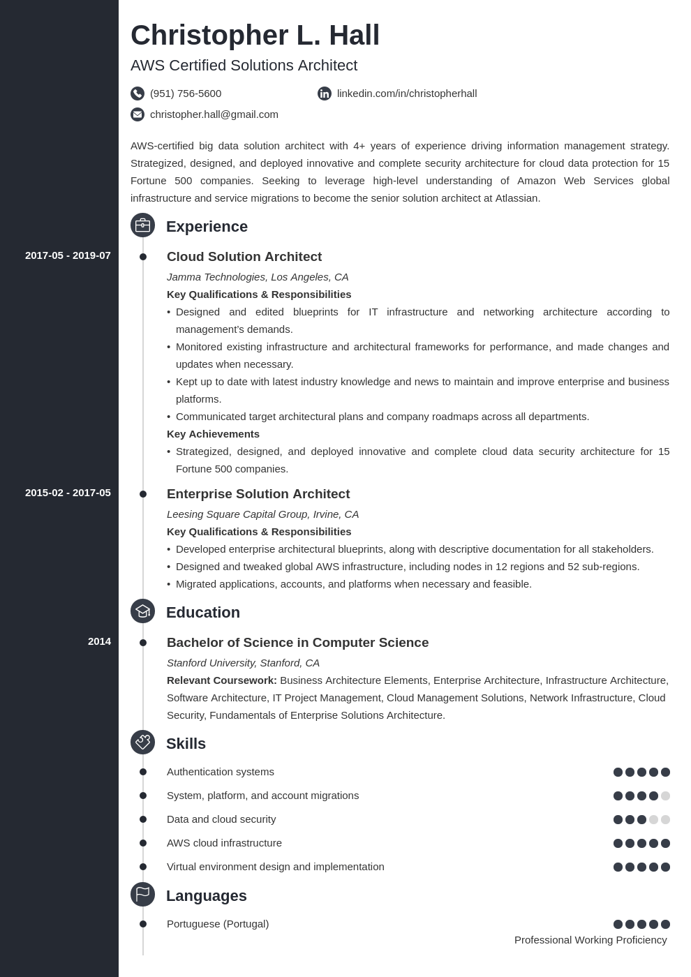 solution architect resume example template concept