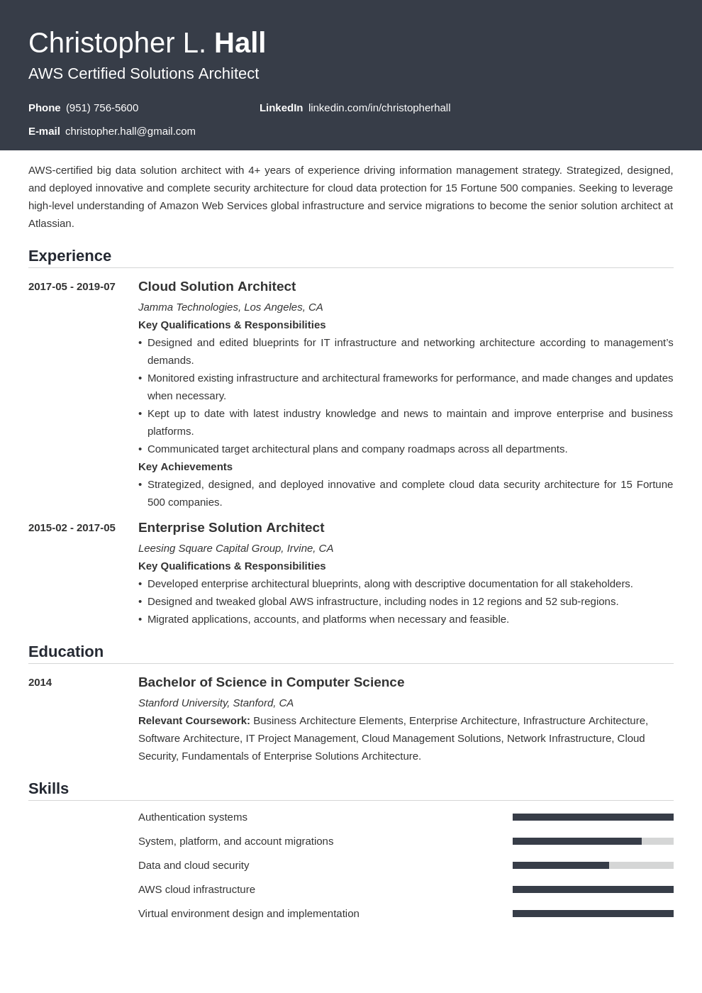 solution architect resume example template influx