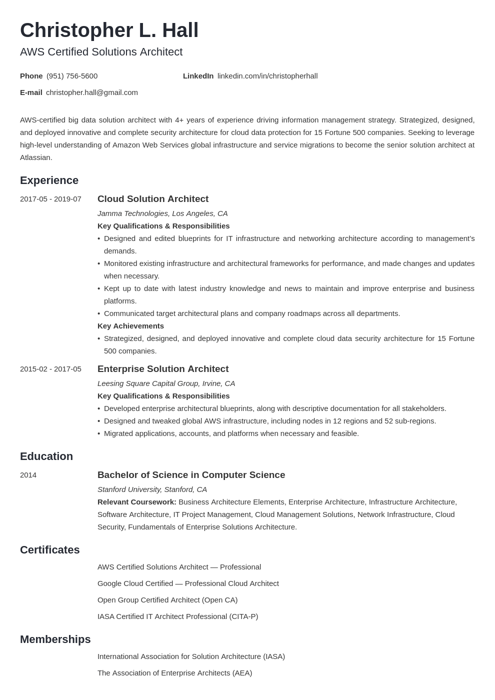 solution architect resume example template minimo