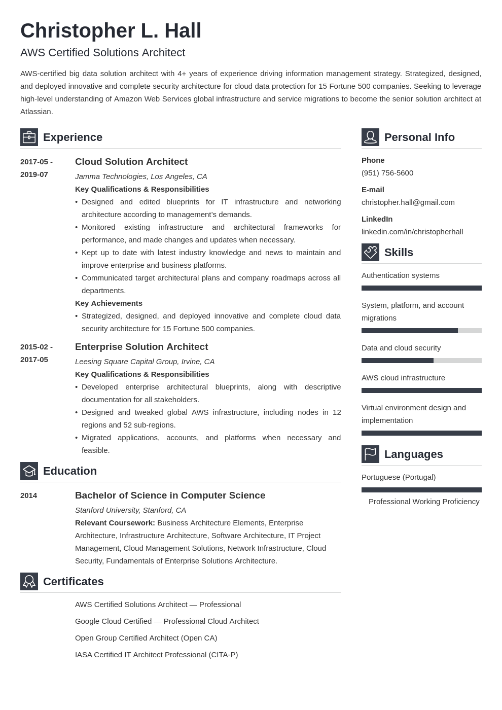 solution architect resume example template vibes