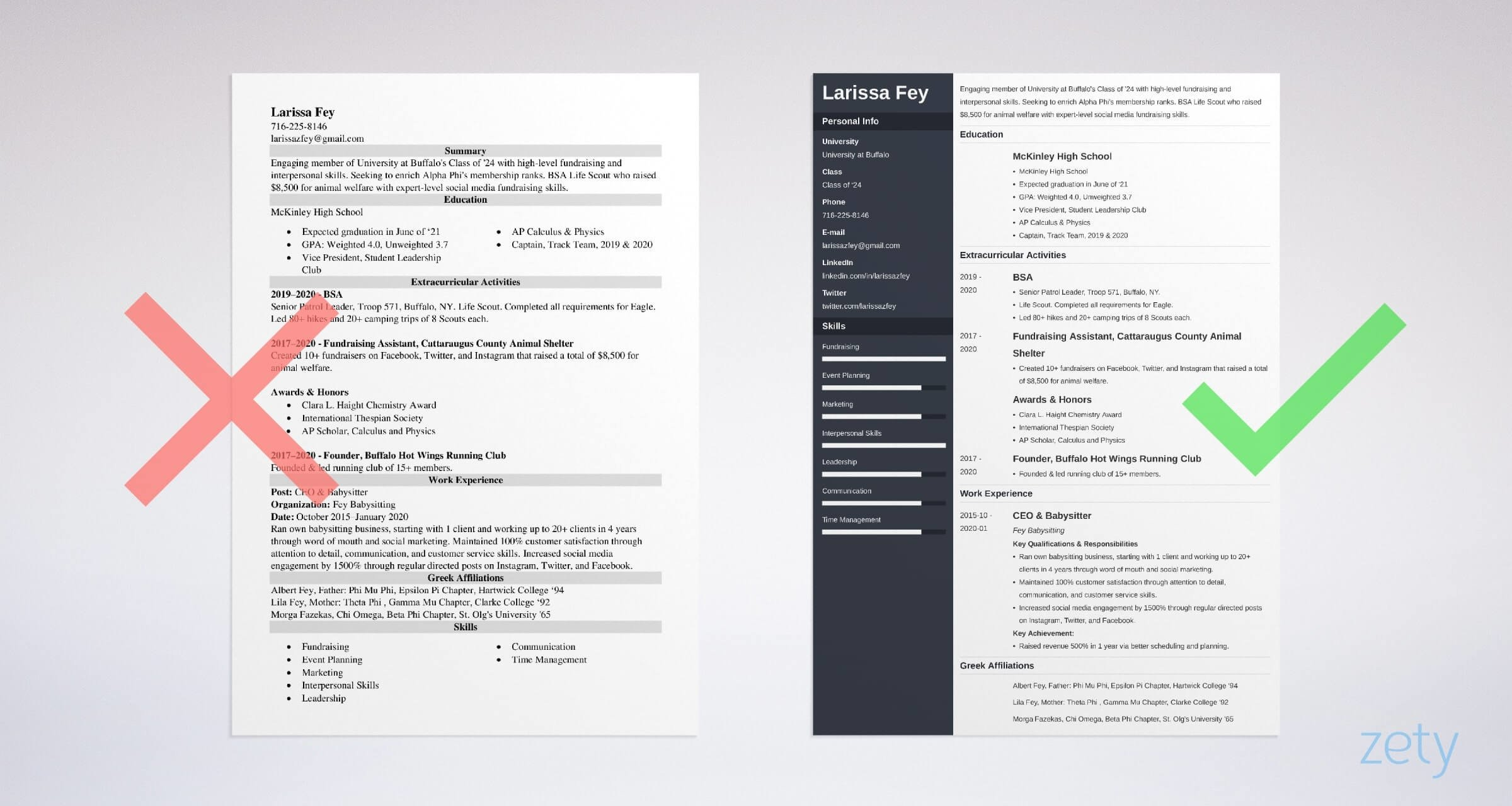 sorority resume templates