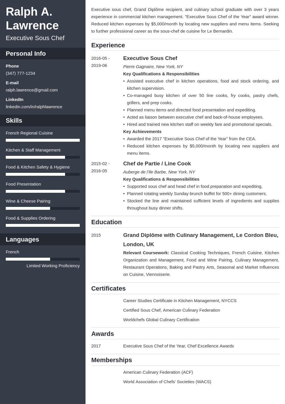 sous chef resume example template cascade