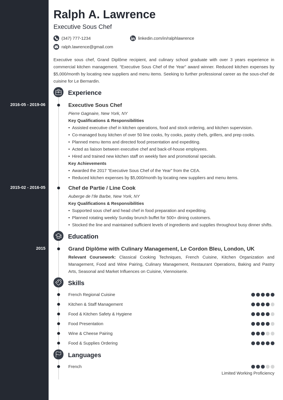 sous chef resume example template concept