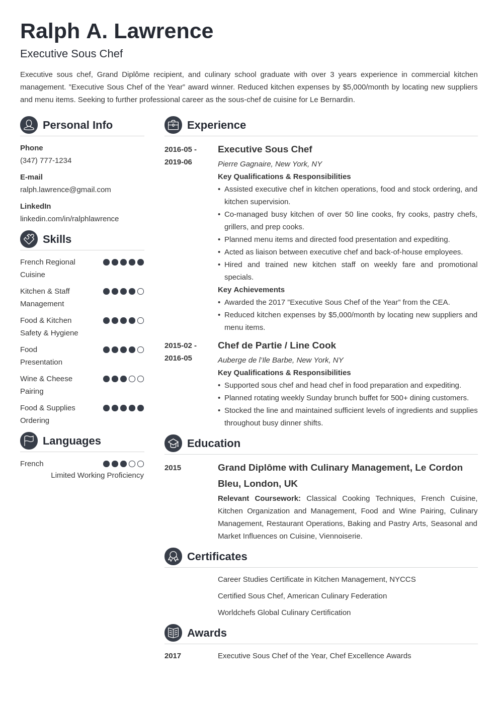 sous chef resume example template crisp