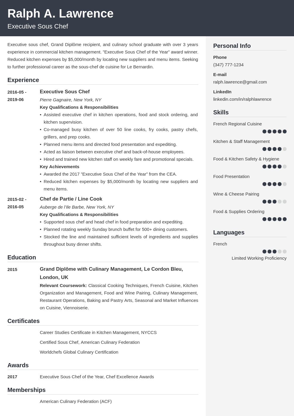 sous chef resume example template cubic
