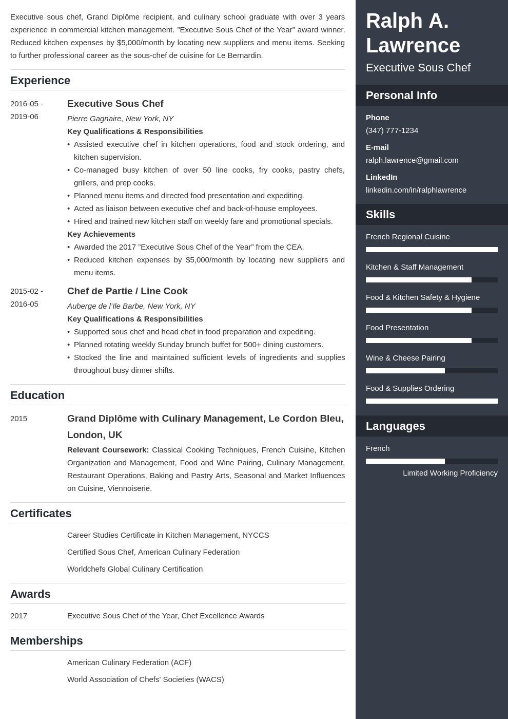 sous chef resume example template enfold