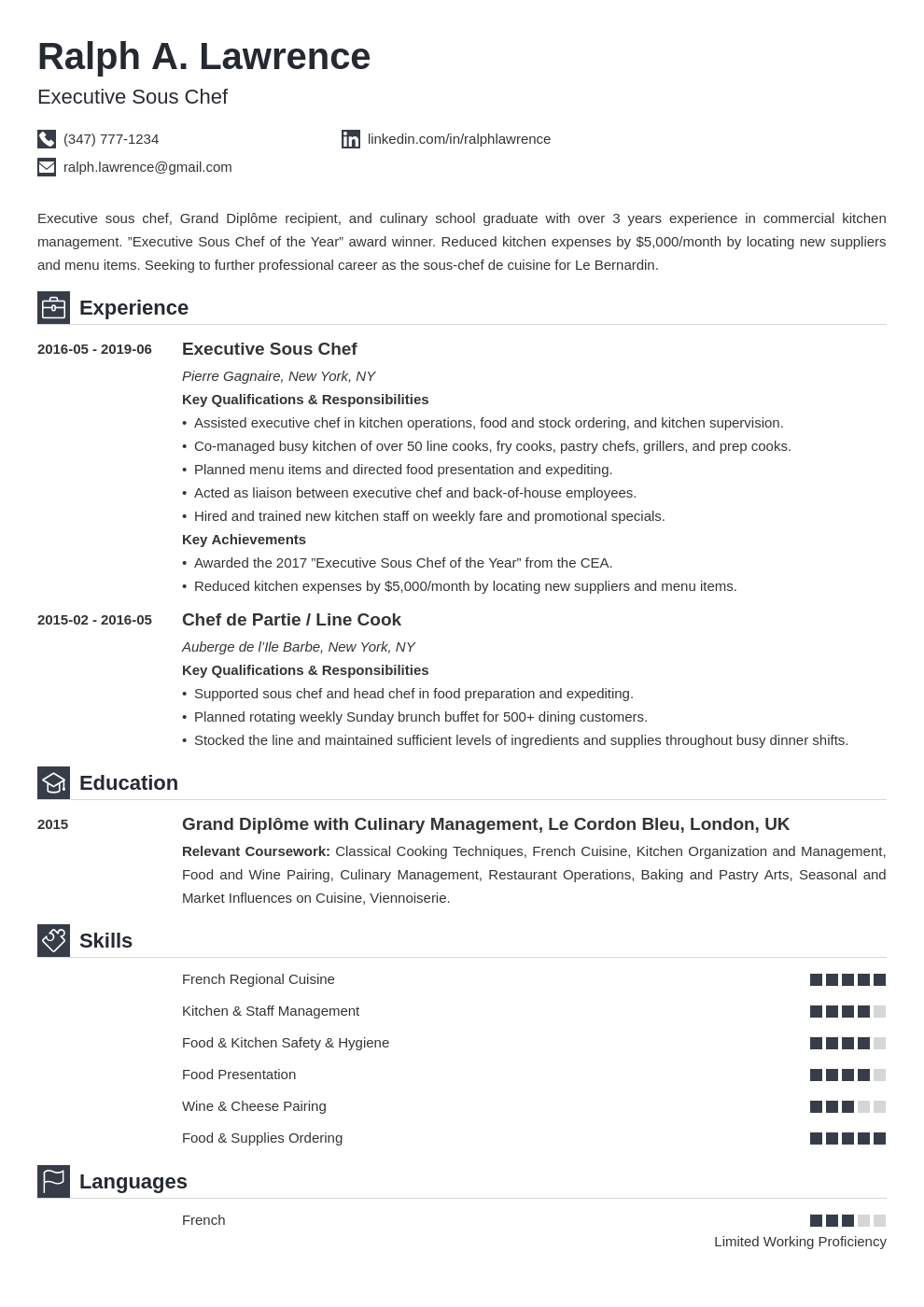 sous chef resume example template iconic