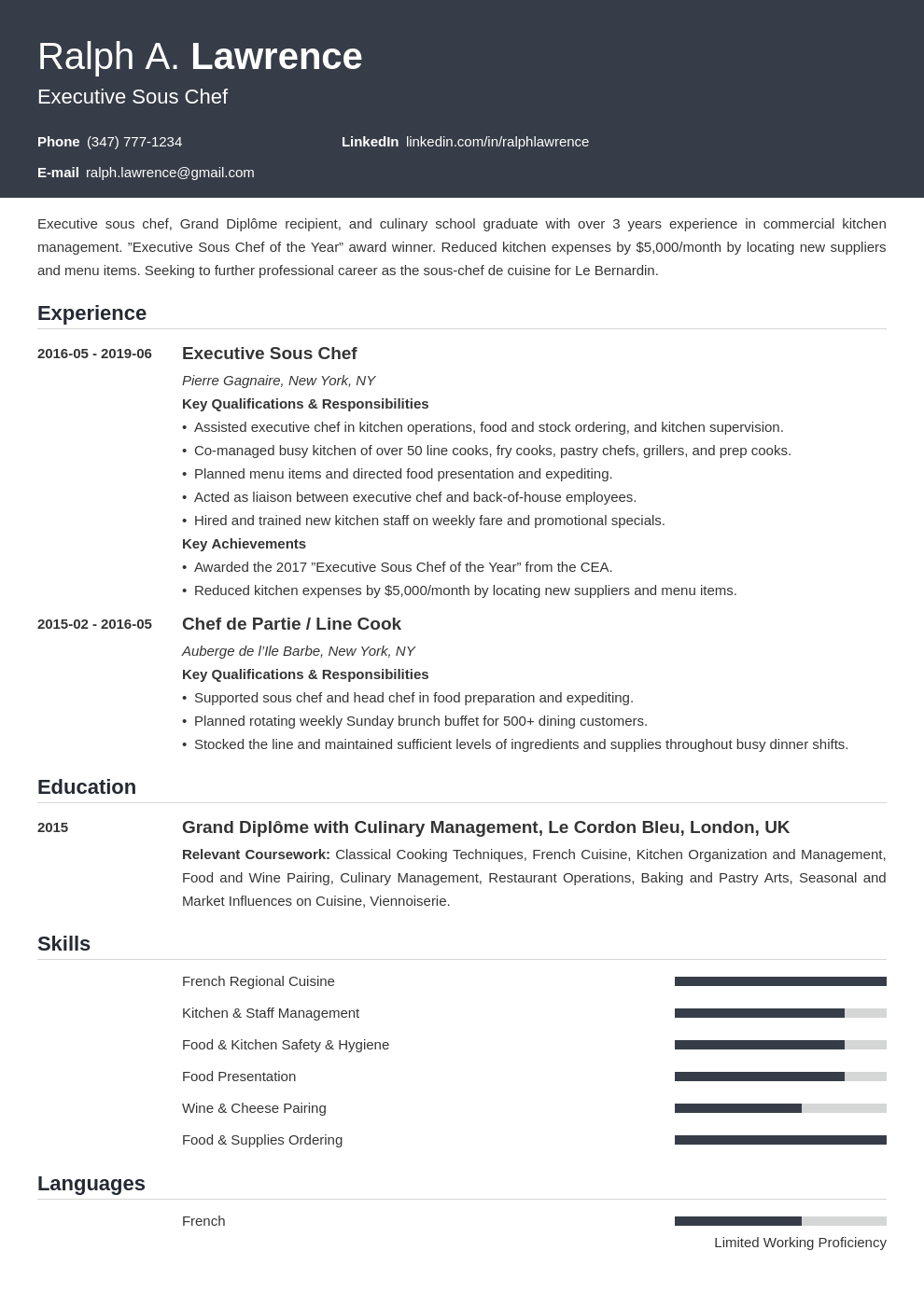 sous chef resume example template influx