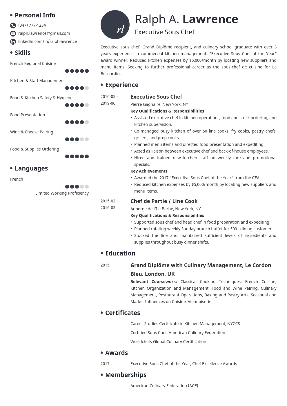 sous chef resume example template initials