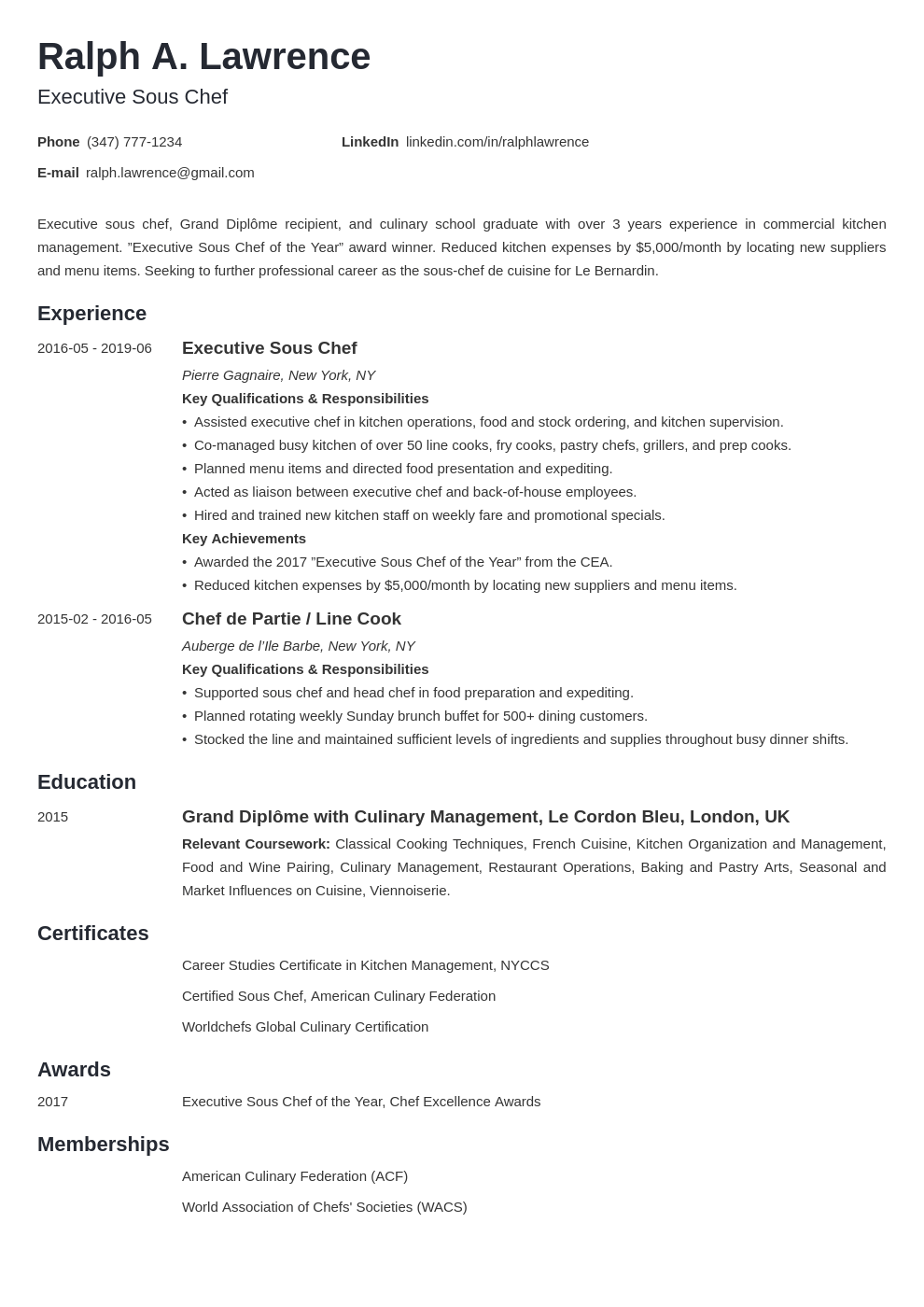 sous chef resume example template minimo