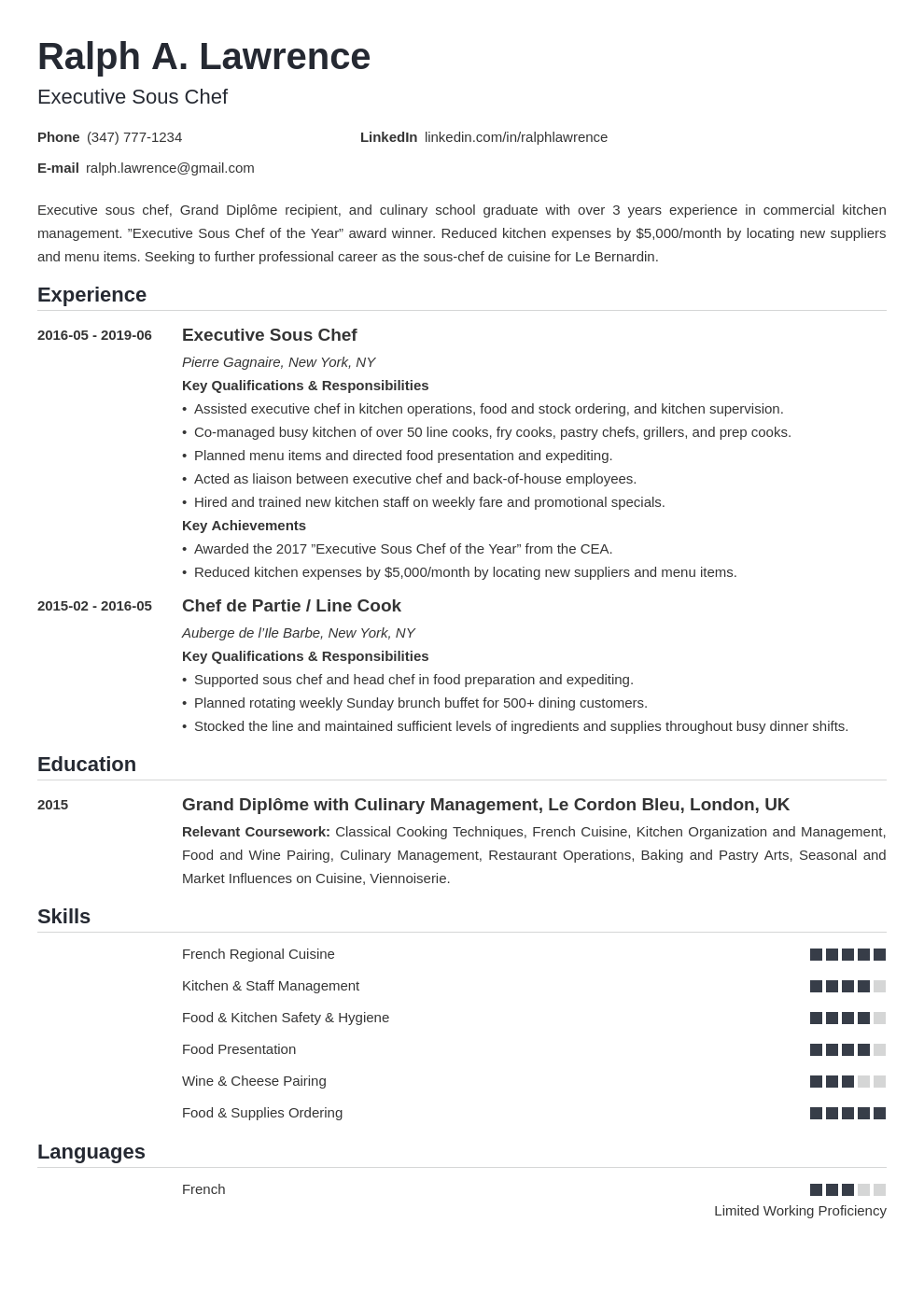 sous chef resume example template nanica