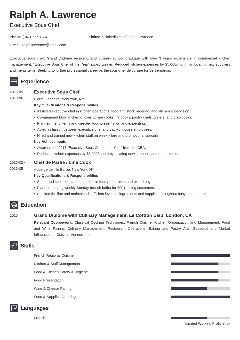 sous chef resume example template newcast