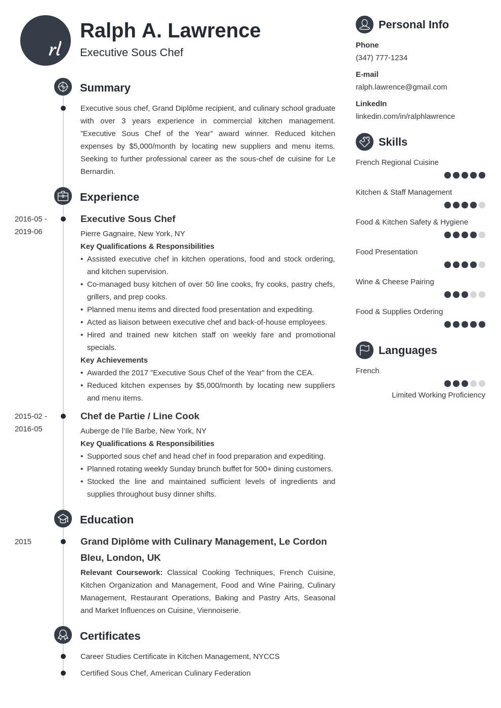 sous chef resume example template primo