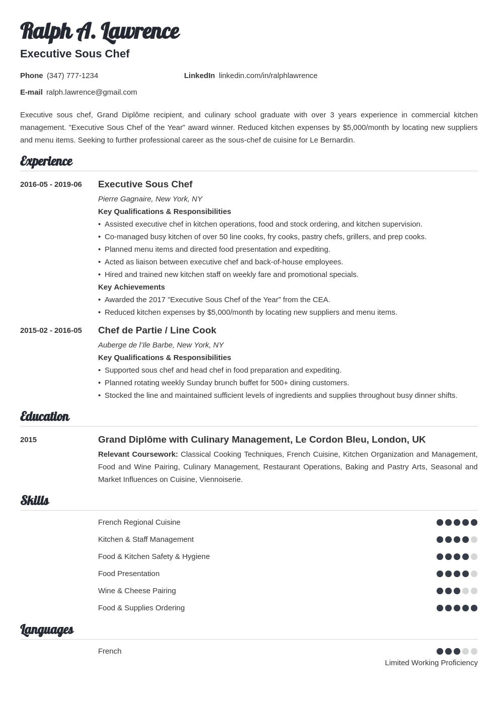 sous chef resume example template valera