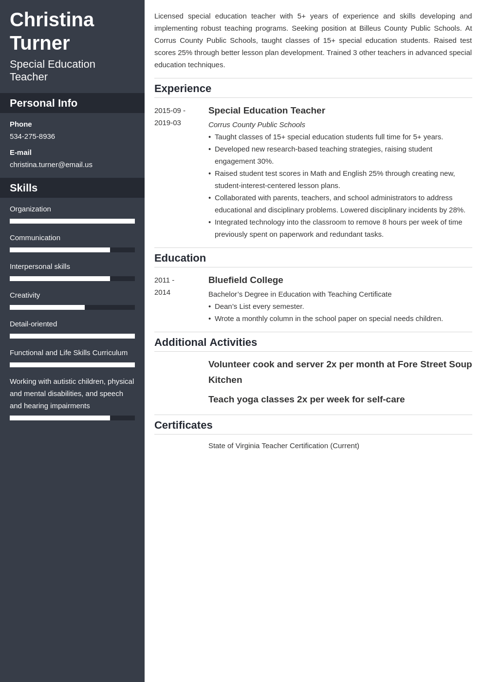 special education teacher resume example template cascade