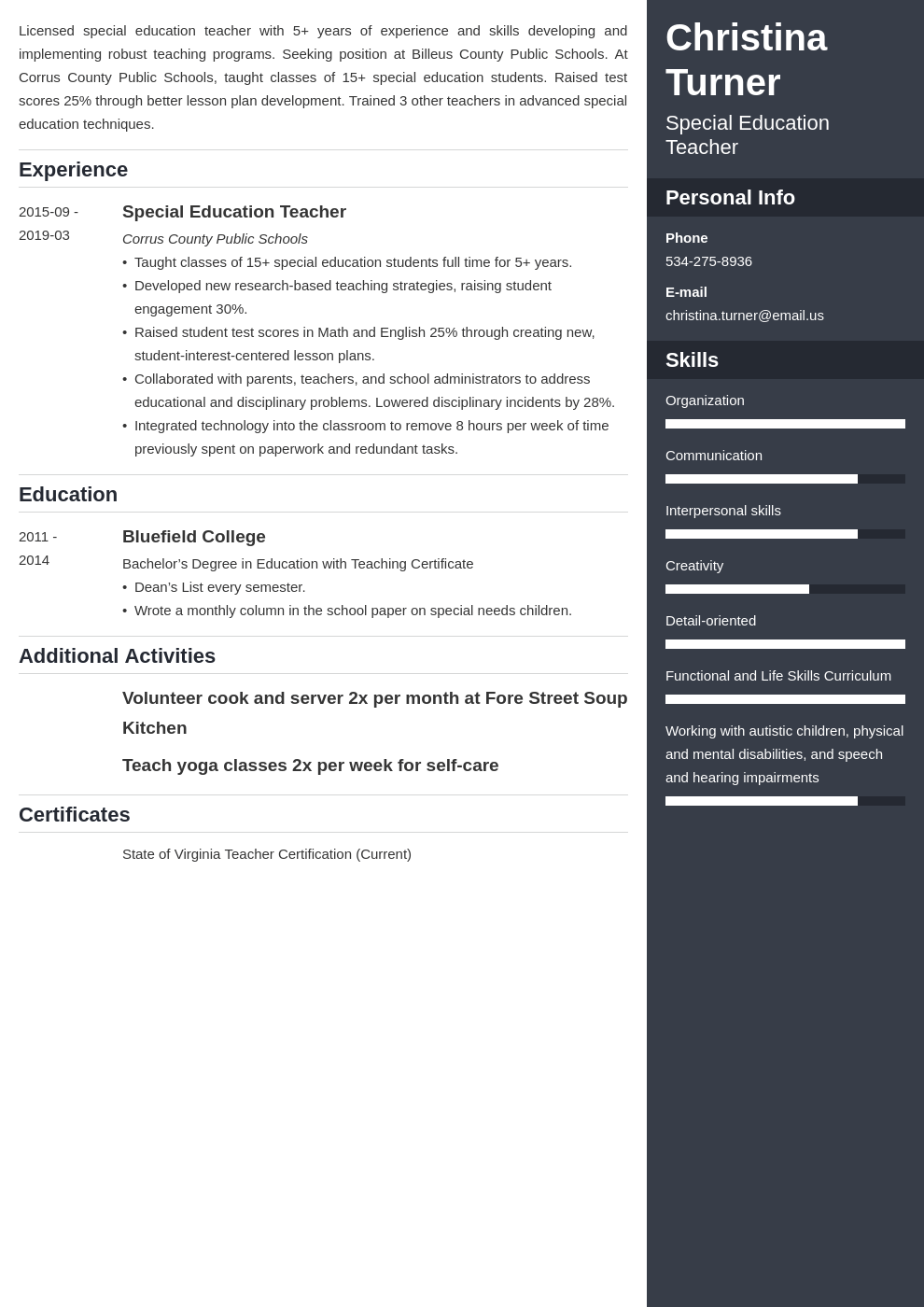 special education teacher resume example template enfold