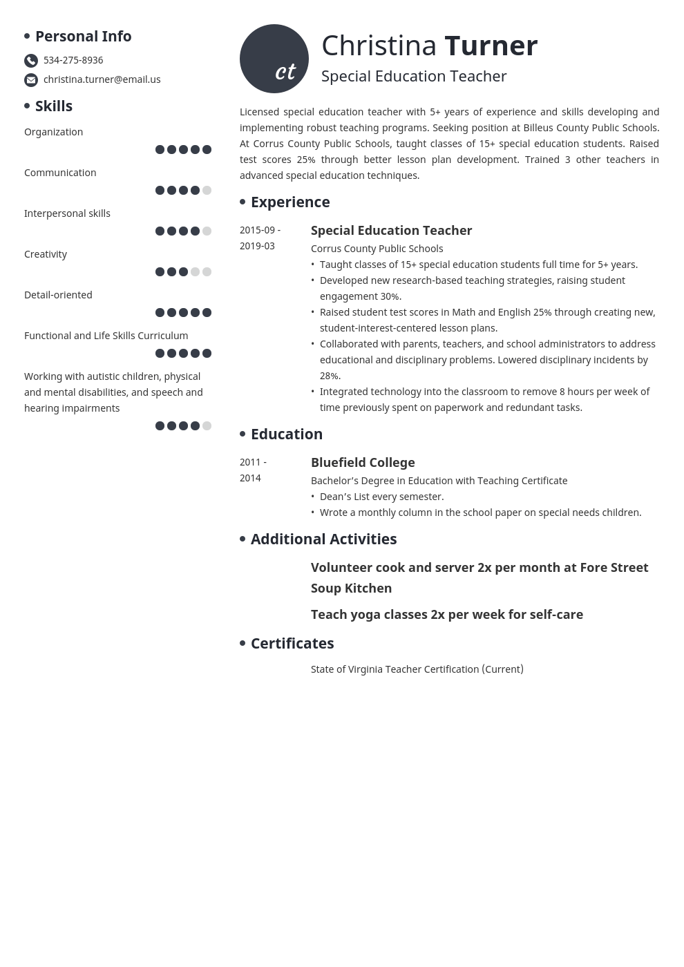 special education teacher resume example template initials