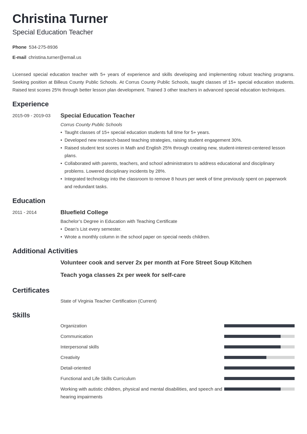 Special Education Teacher Resume Examples Objective