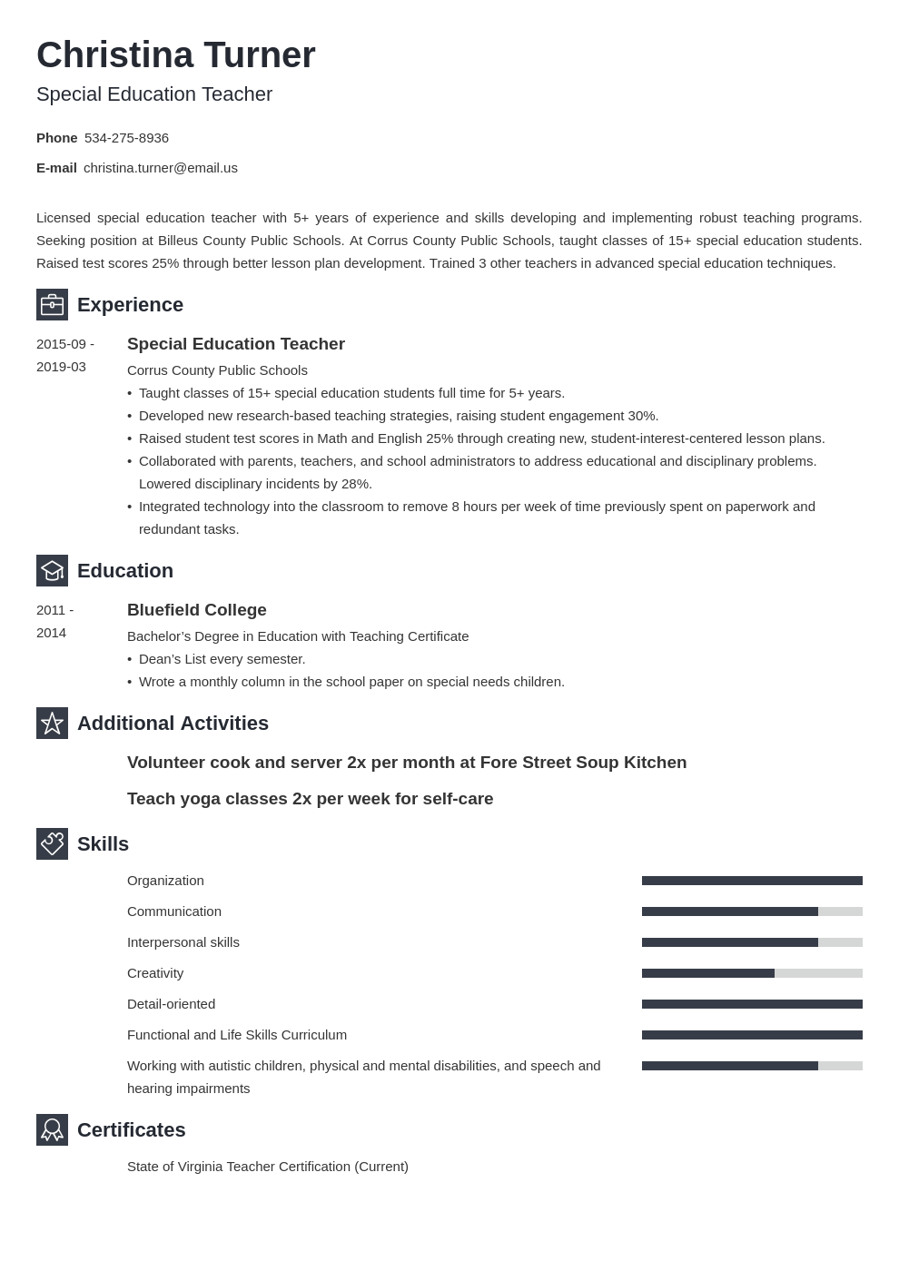 special education teacher resume example template newcast