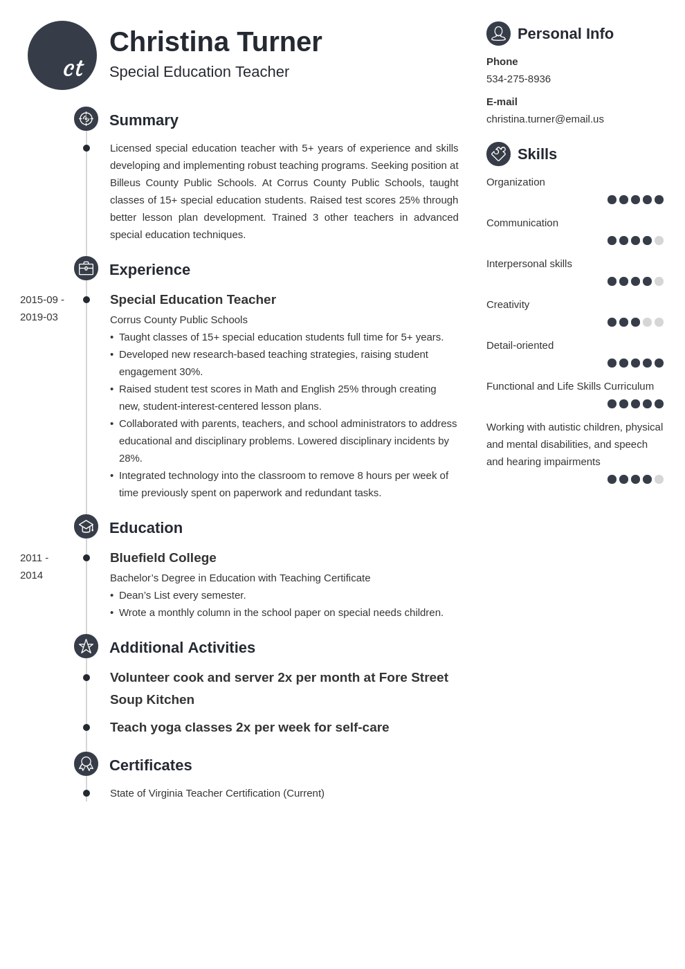 special education teacher resume example template primo