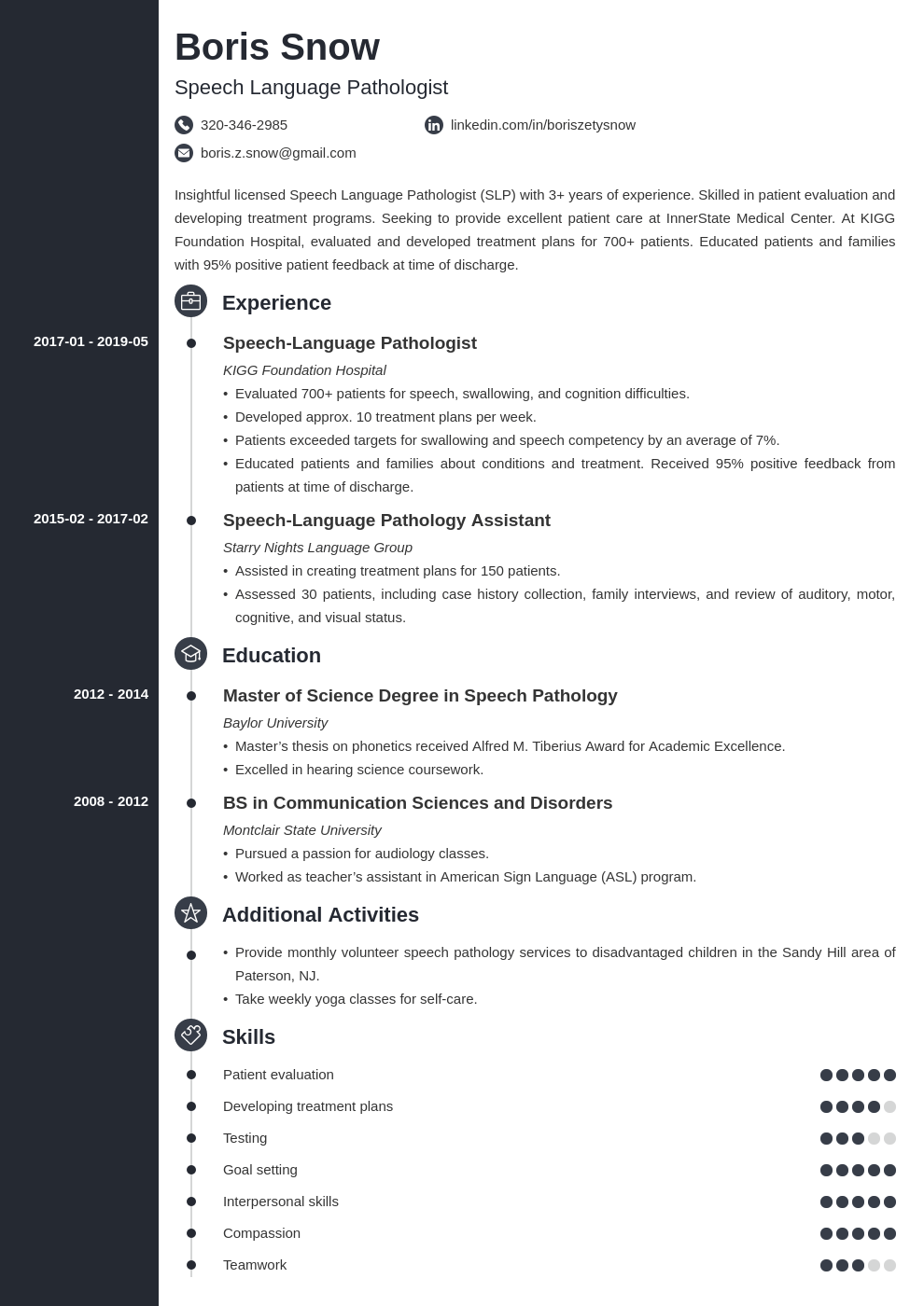 speech pathologist resume example template concept