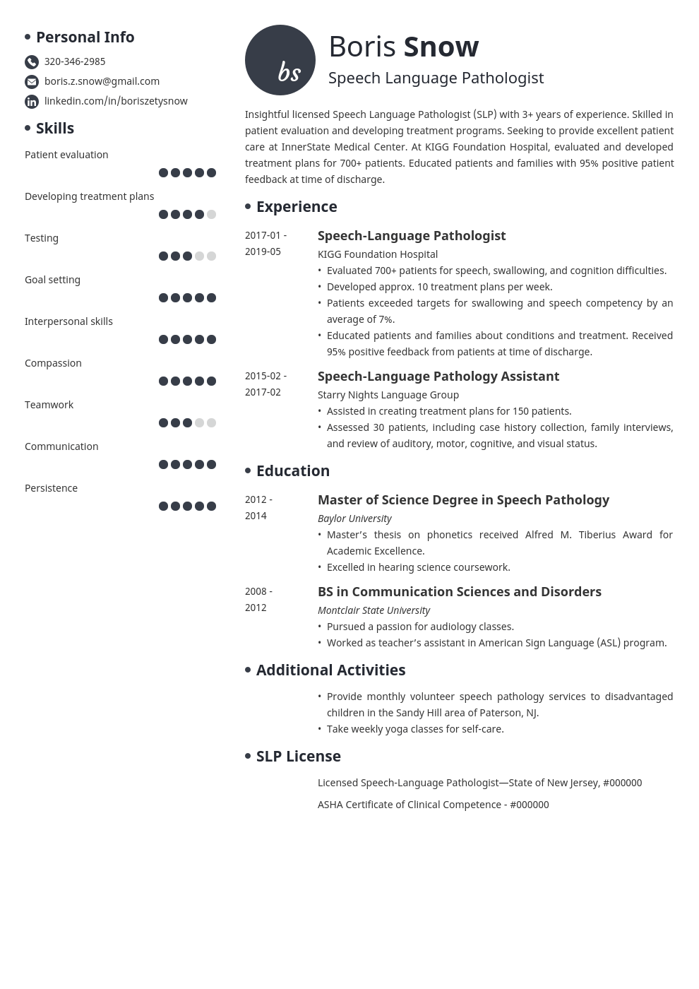speech pathologist resume example template initials