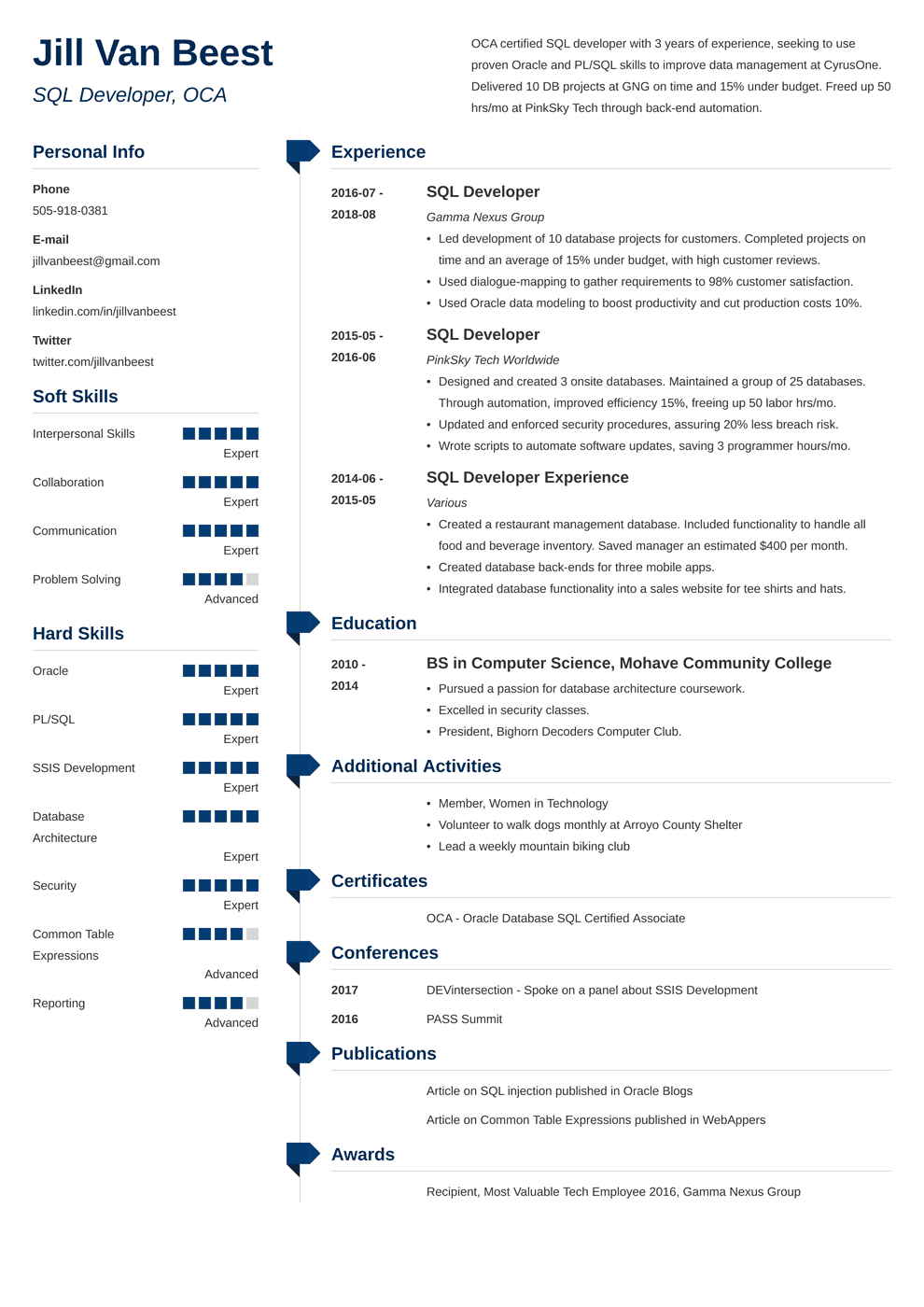 SQL Developer Resume: Sample and Complete Guide [+20 Examples]