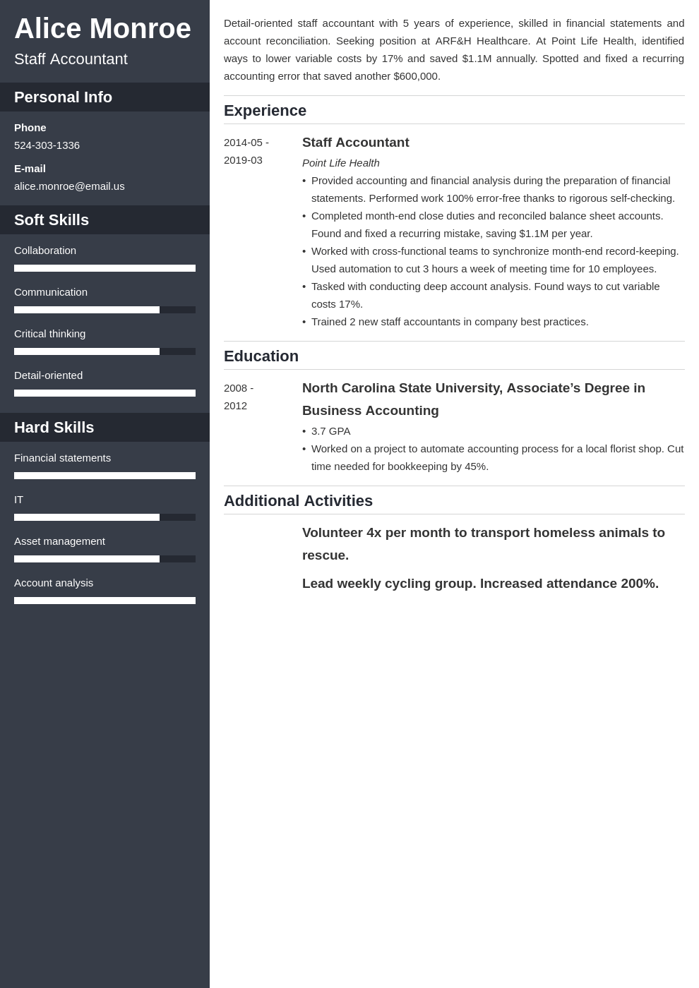 staff accountant resume example template cascade