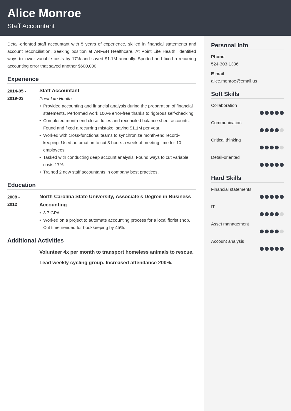 staff accountant resume example template cubic