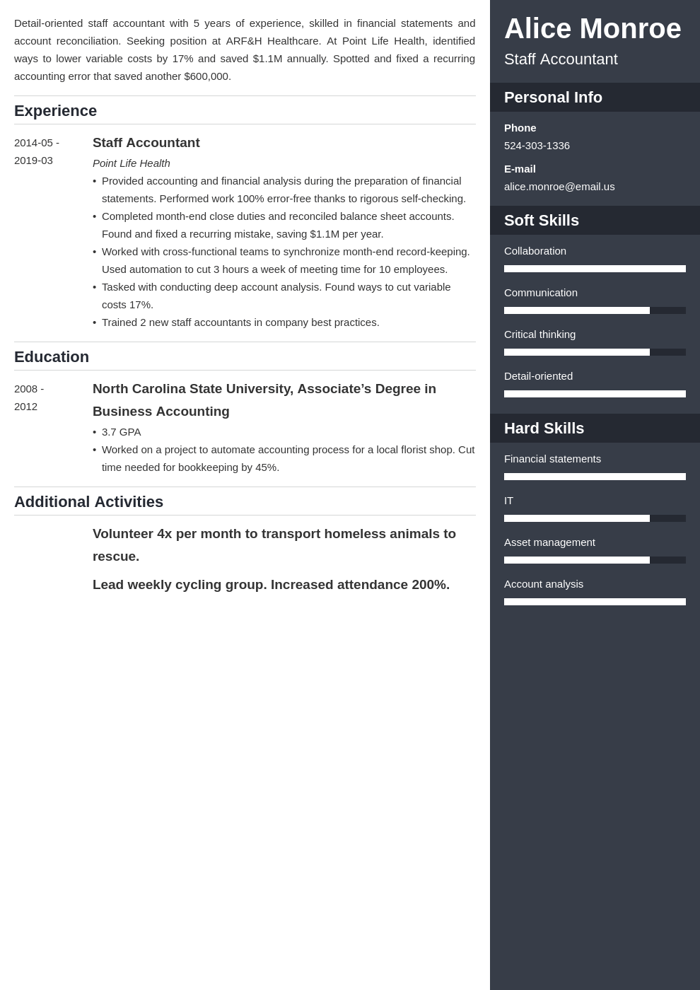 staff accountant resume example template enfold