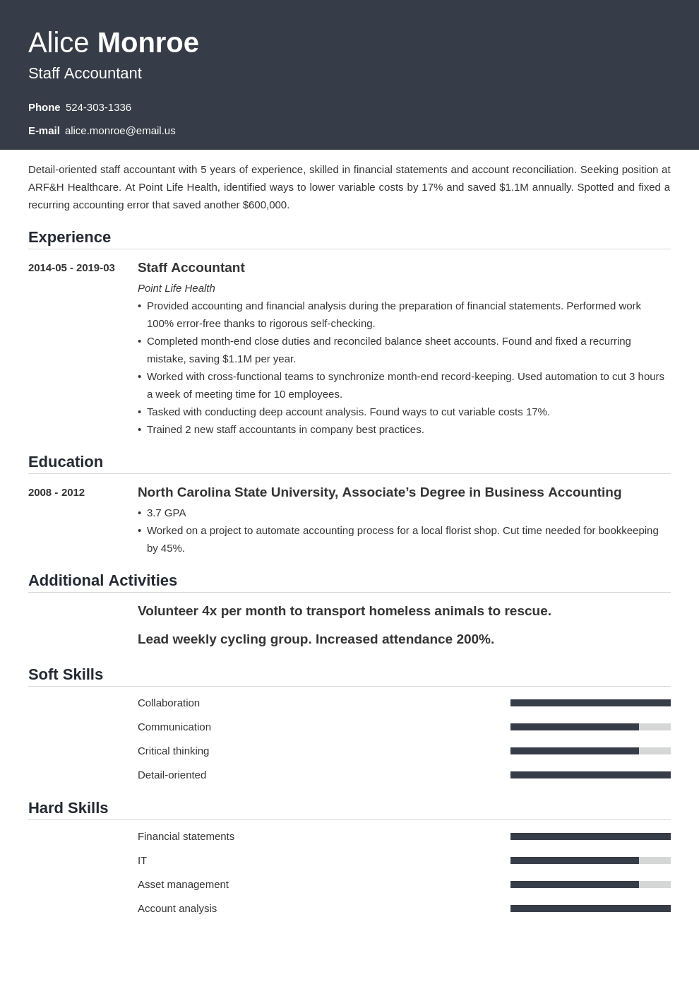 staff accountant resume example template influx