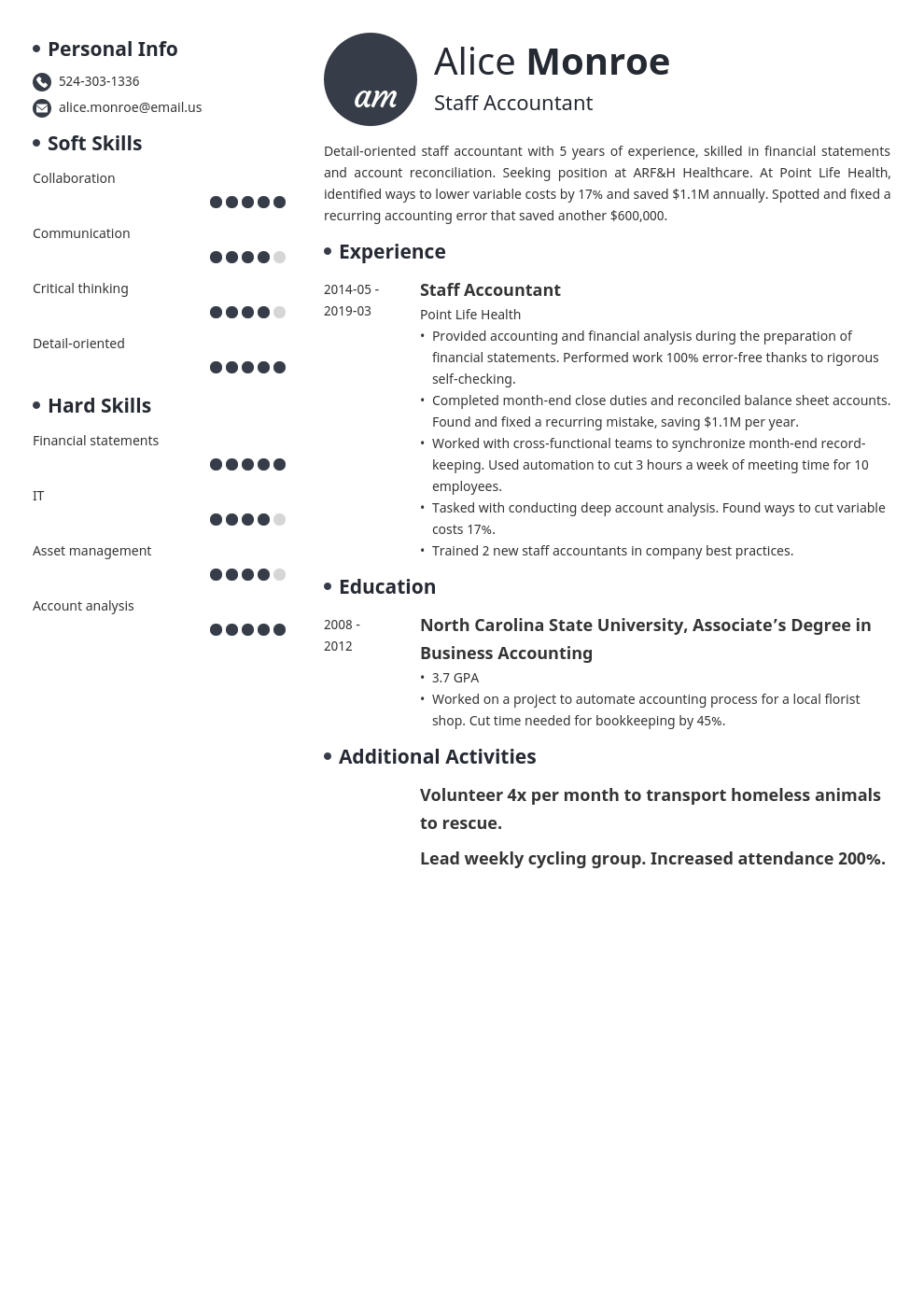 staff accountant resume example template initials