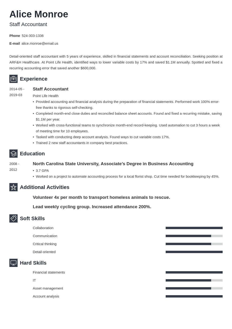 staff accountant resume example template newcast
