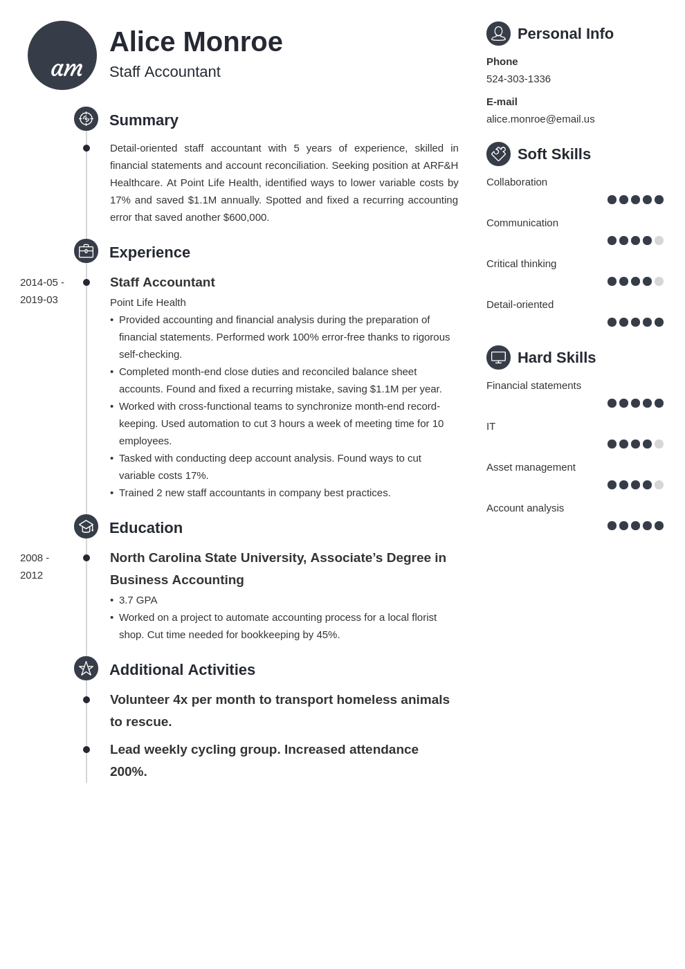 staff accountant resume example template primo