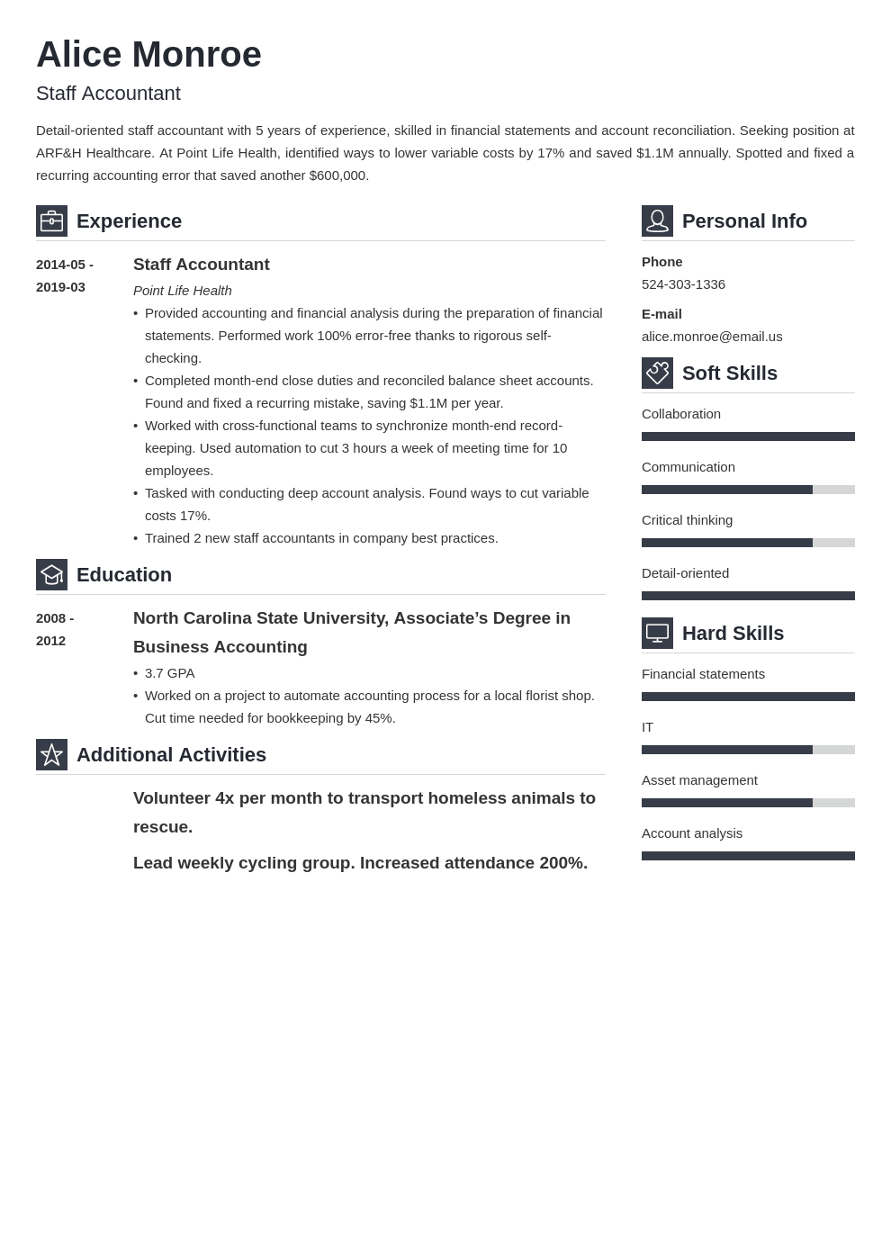staff accountant resume example template vibes