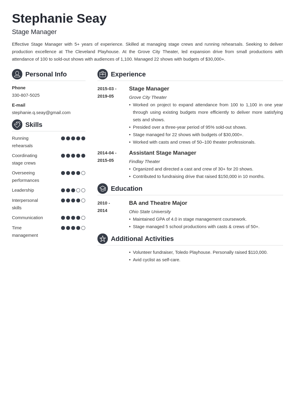 stage manager resume example template crisp