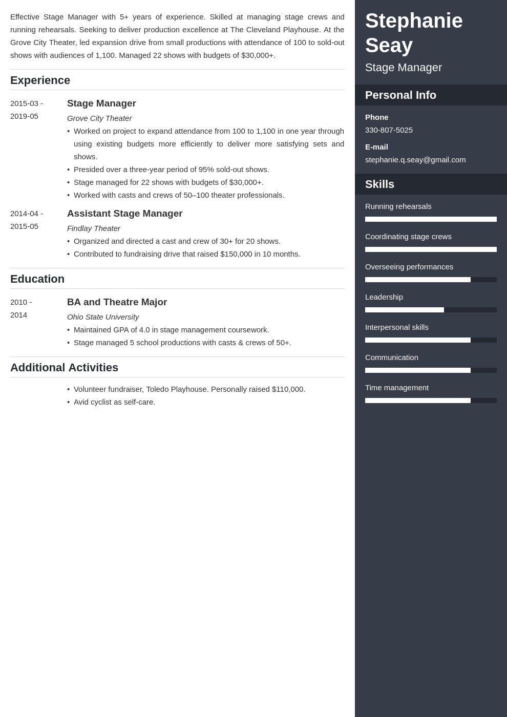 stage manager resume example template enfold