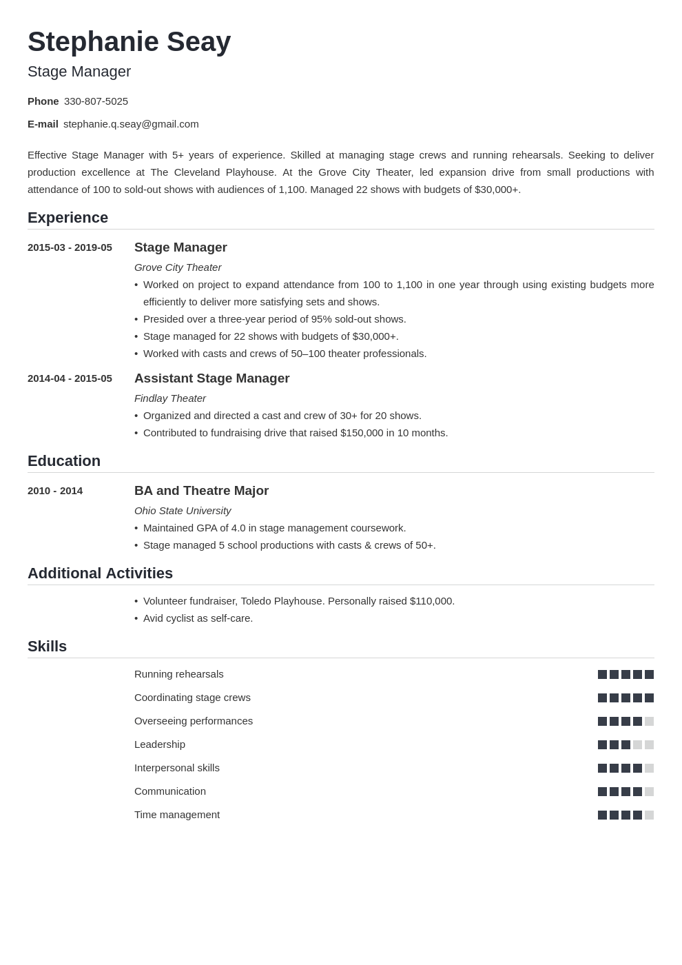 stage manager resume example template nanica