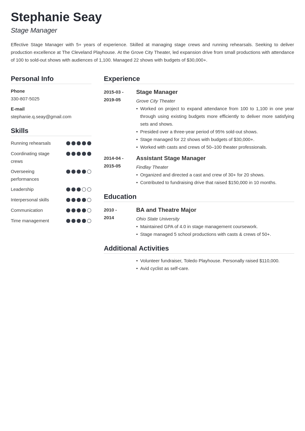 stage manager resume example template simple
