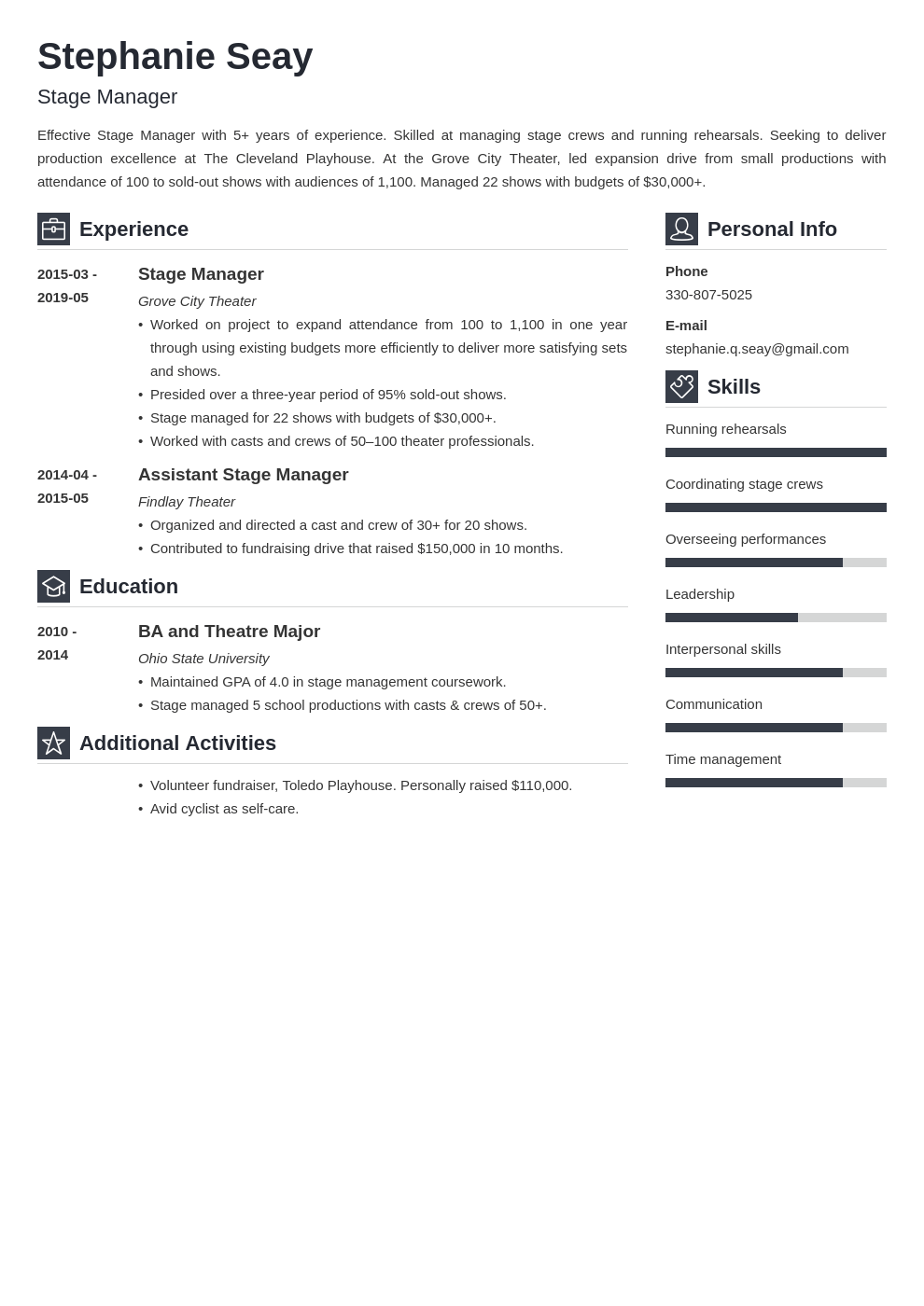 stage manager resume example template vibes
