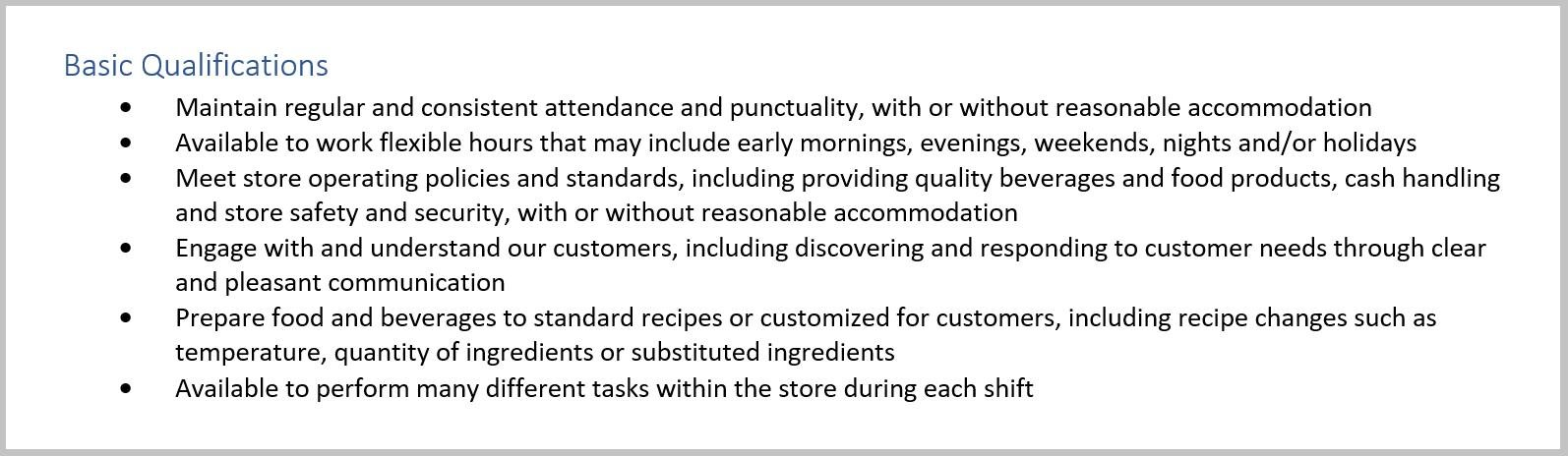 Starbucks Barista Job Duties For Resume