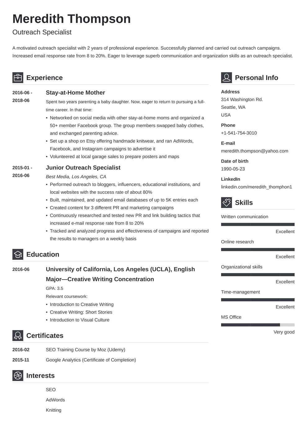 combination resume template for stay at home mom