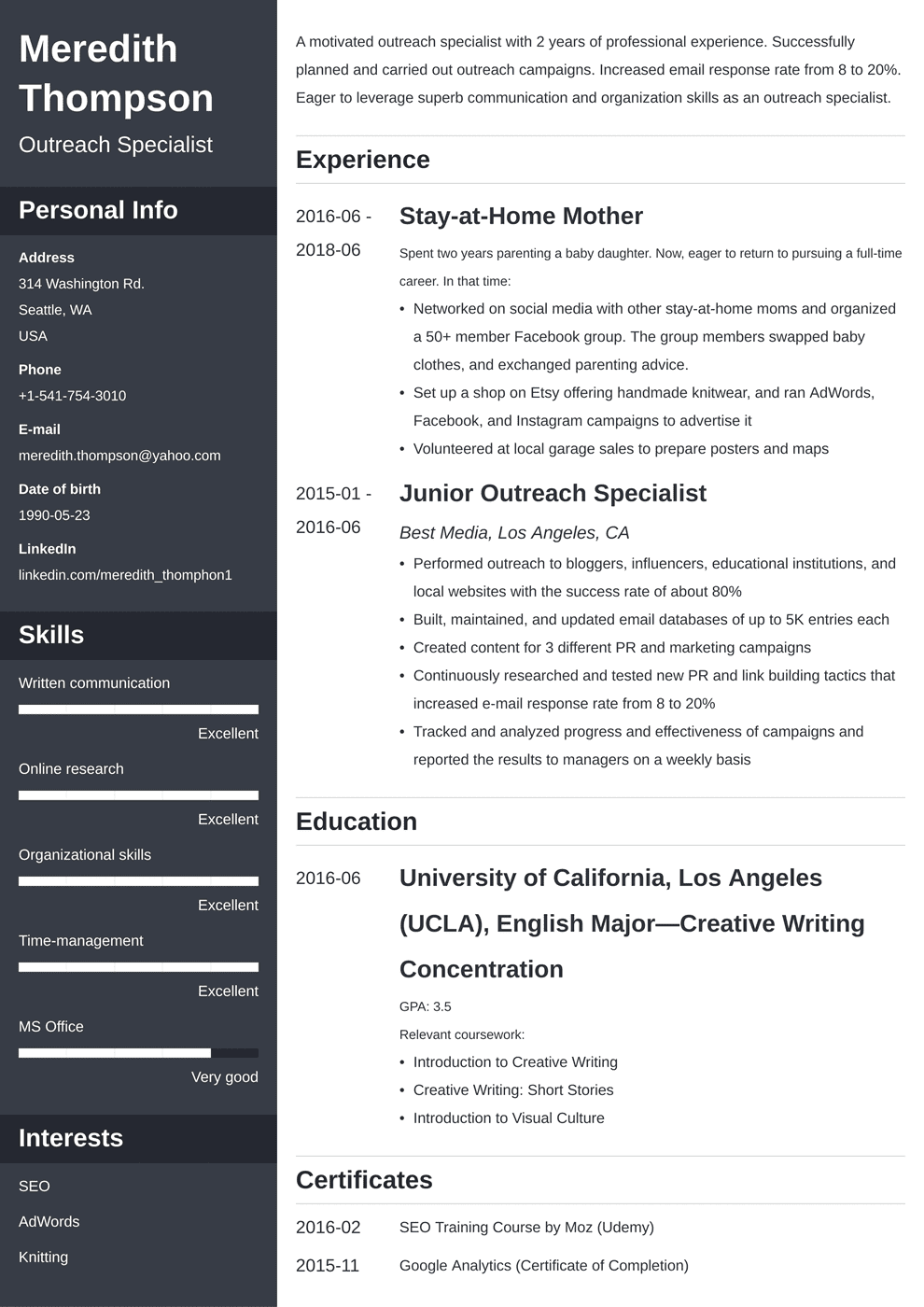 Stay At Home Mom Resume Sample And Writing Guide 20 Examples