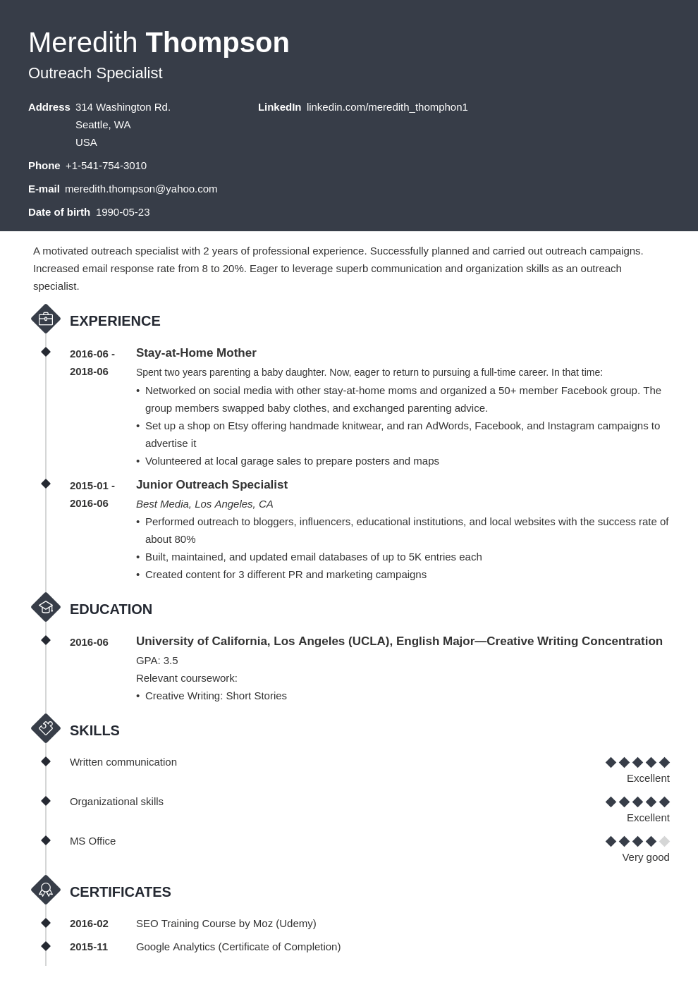 stay at home mom resume example template diamond