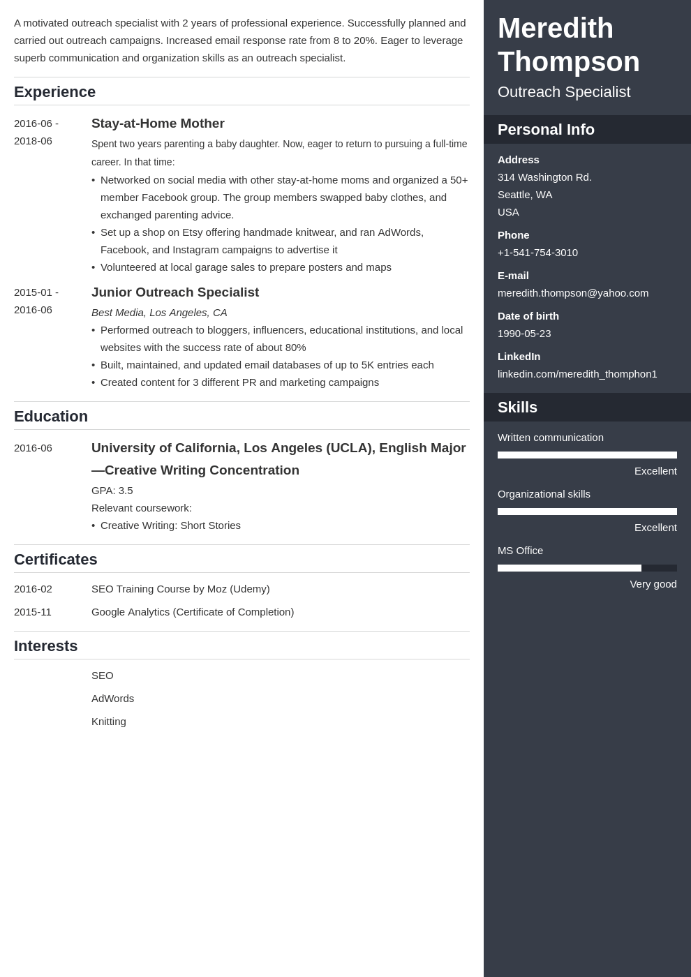 stay at home mom resume example template enfold