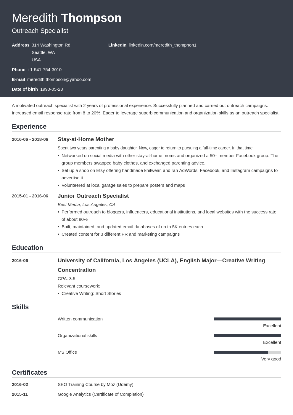 stay at home mom resume example template influx