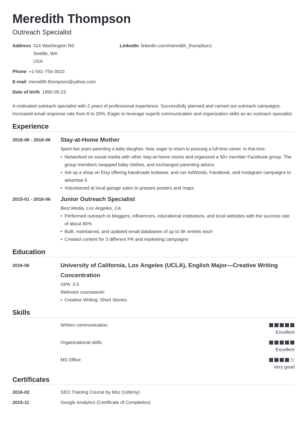 stay at home mom resume example template nanica