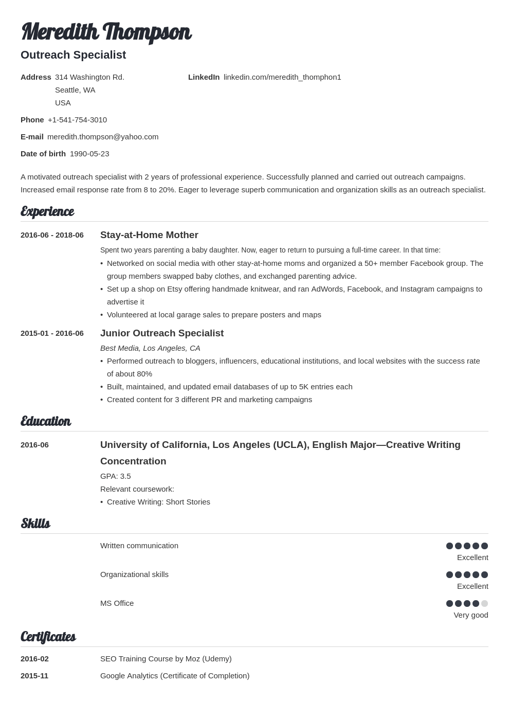stay at home mom resume example template valera