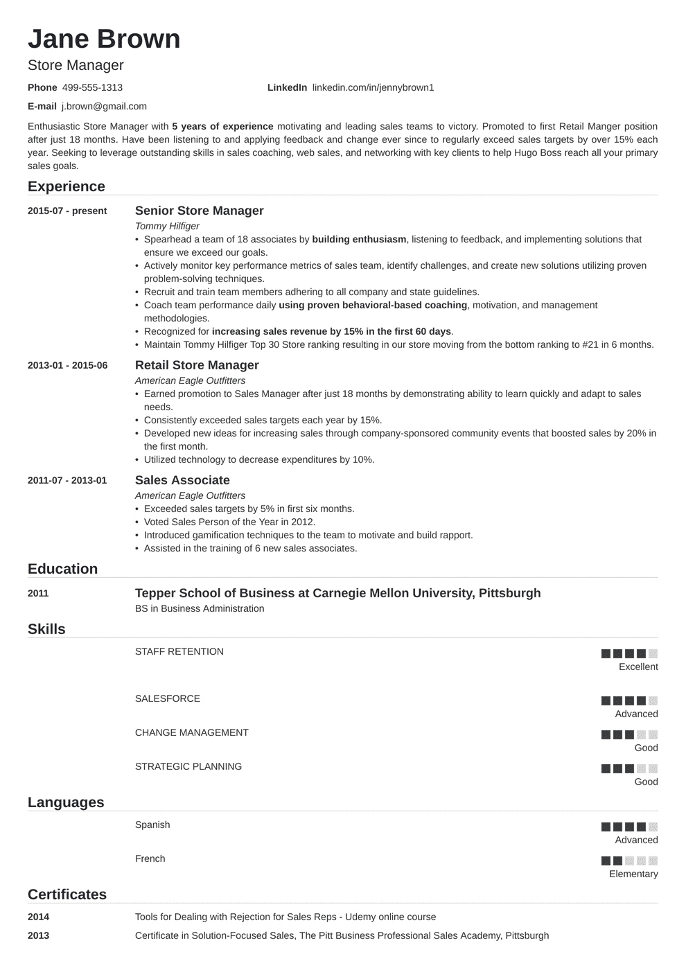 Store Manager Resume Examples Job Description Skills
